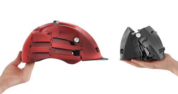 The Overade is a folding bicycle helmet to wear on a folding bicycle