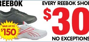 Mates Rates: All Reebok shoes $30 at Paul's Warehouse