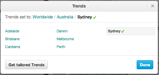 Twitter Trends adds extra Aussie Cities