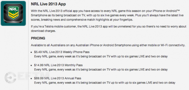 Telstra details of the NRL 2013 app and pricing structure
