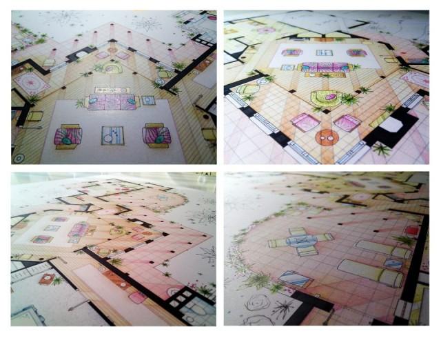 TV floorplans being drawn