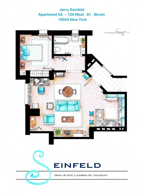 Hand drawing of the Jerry Seinfeld Apartment from Seinfeld