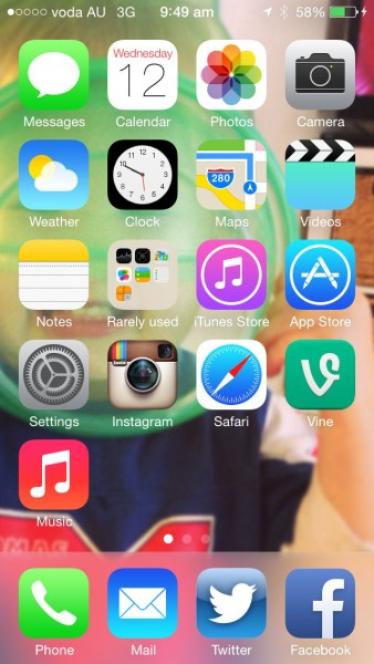 iOS7 - Home screen with new icon designs
