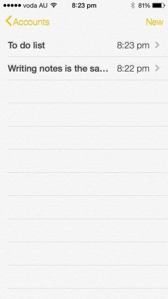 iOS7 - Notes app