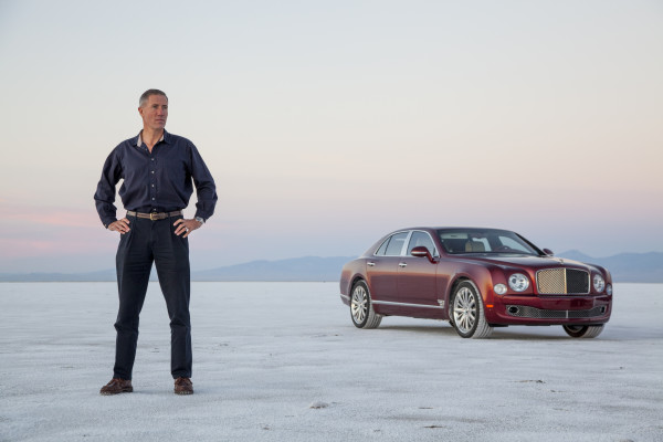 Andy Green on the Bonneville flats with the Bentley Mulsanne