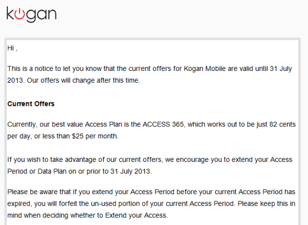 Kogan's email to Kogan Mobile customers