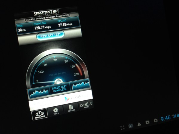 Speed Test on the Vodafone 4G network using a Huawei MediaPad 10