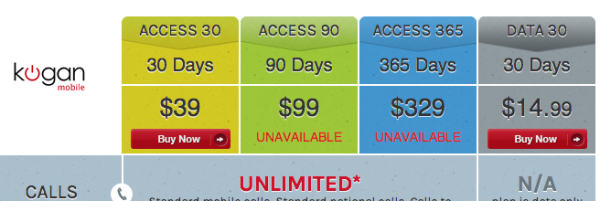 Kogan's 90 and 365 day recharge plans are currently UNAVAILABLE