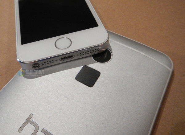 HTC One Max fingerprint scanner alongside iPhone 5s with fingerprint scanner