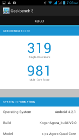 Geekbench results for Kogan's Quad-Core Agora