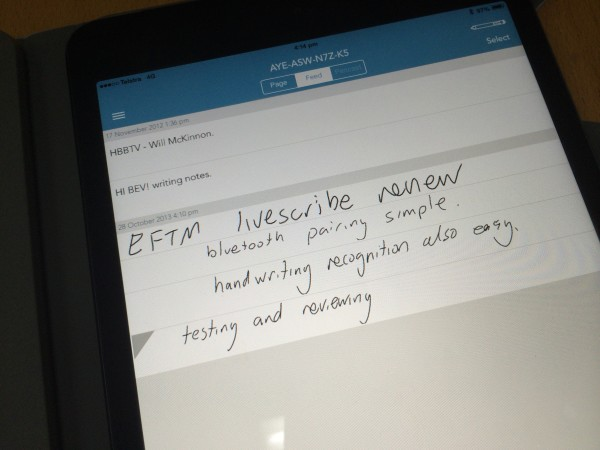 Testing Livescribe 3 to iPad connectivity
