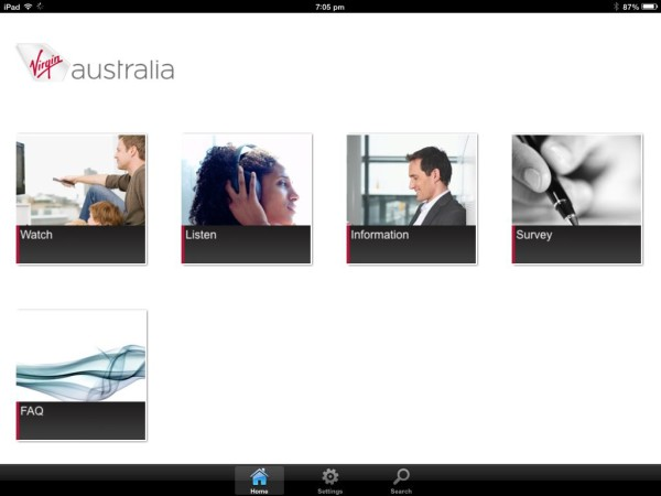 Virgin Australia - in-flight entertainment on your own device