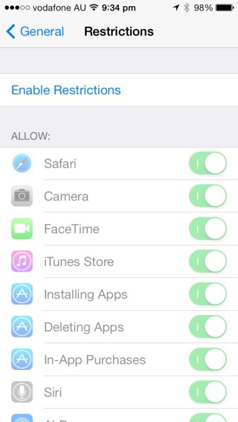 Apple iOS Restrictions: ENABLE