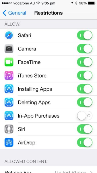 Apple iOS Restrictions: Disable in-app purchases