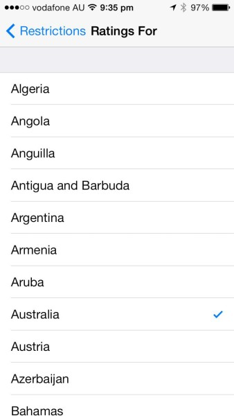 Apple iOS Restrictions: Set your region