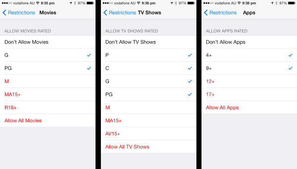 Apple iOS Restrictions: Setting age restrictions