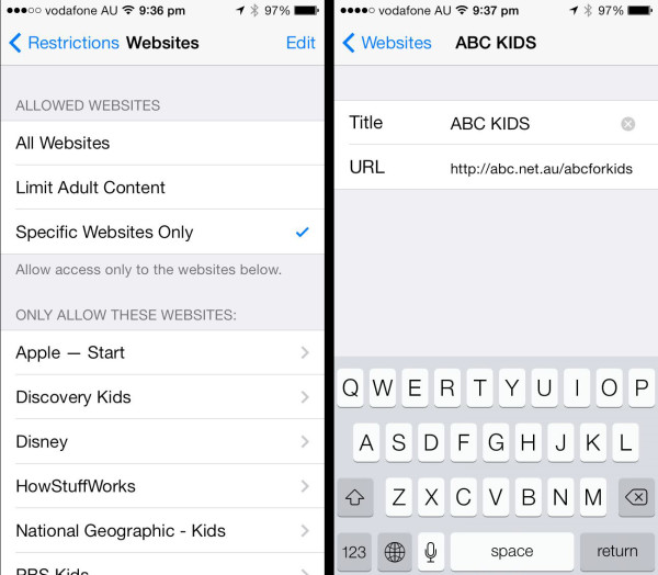 Apple iOS Restrictions: Adding a website to the allowed list