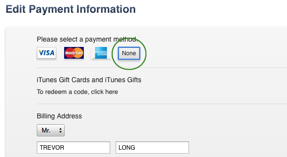 Choose NONE as your payment option to disable your credit card.