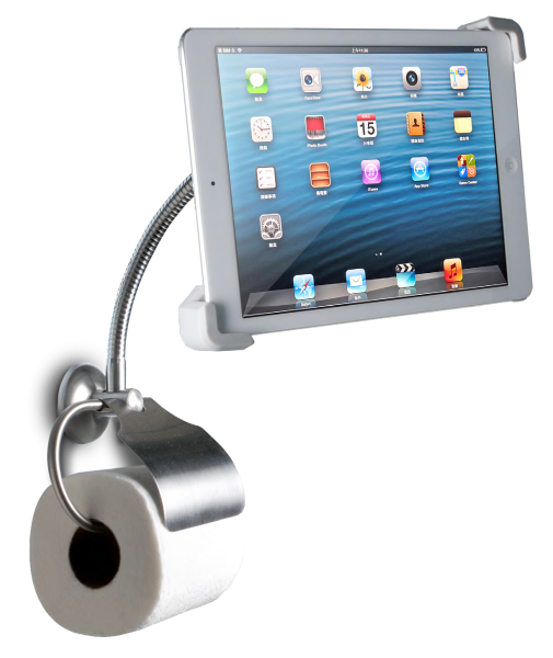 iPad holder on the Toilet Roll dispeneser