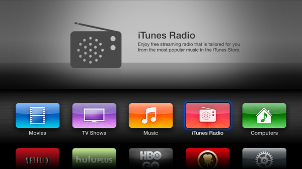iTunes Radio showing within Apple TV