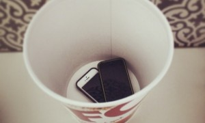 The KFC Bucket at our home where the mobiles go at Meal time (This week)
