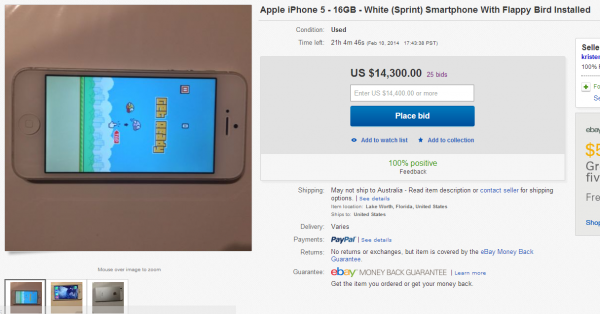 eBay listing for an iPhone with Flappy Bird installed