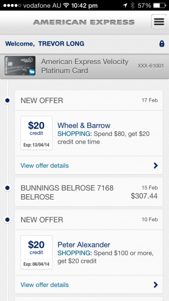 Amex App - Showing spending history with Offers in the timeline