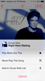 iTunes Radio - song options to customise your listening experience