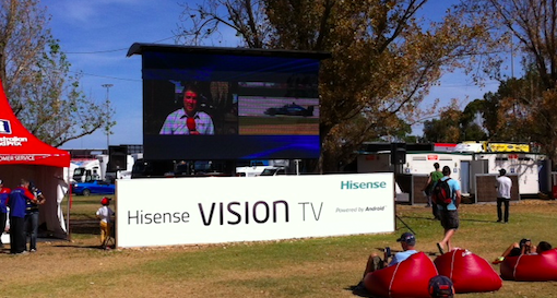 Hisense TV branding at the Albert Park F1 Circuit