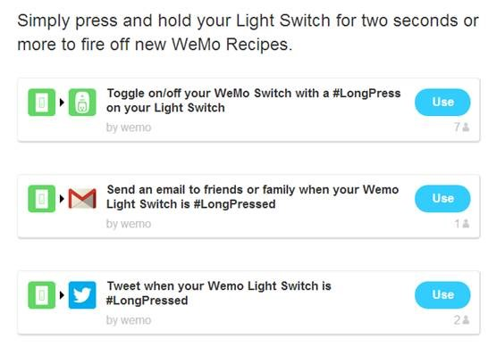 Long press settings on IFTTT for WeMo