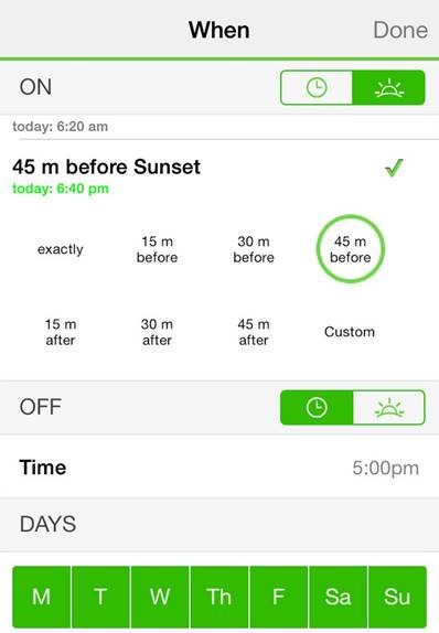 Adjustable sunset settings - Belkin WeMo