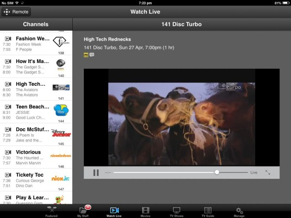 Viewing your Fetch TV channels live on your home network via the Remote App