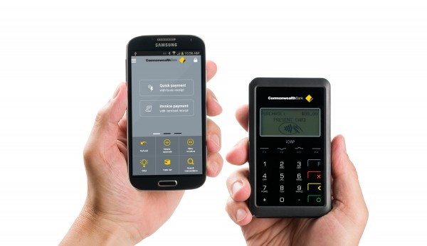 "Comm Bank small business app and ""Emmy"" payment terminal"