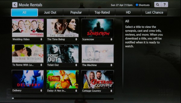 Standard nine tile display for content applies across Fetch TV