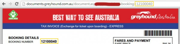 Ticket Number corresponded to the website URL