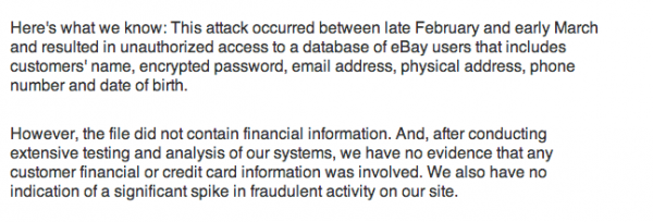 eBay details just what the hackers obtained.