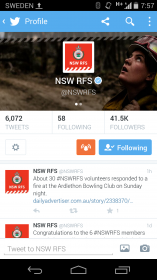 Emergency Notifications turned on for the NSW RFS account
