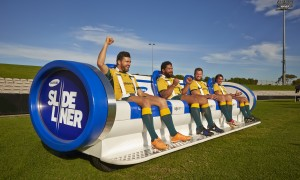 "The ultimate sideline seats at the Rugby?  Samsung reckons ""Slideliner"" fits the bill"