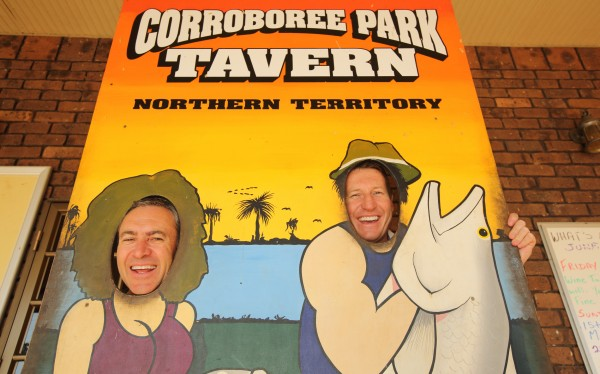 Territory Mates Mark Skaife and Mark Beretta at the Corrroboree Park Tavern  on a boys own adventure from Darwin to Kakadu National Park