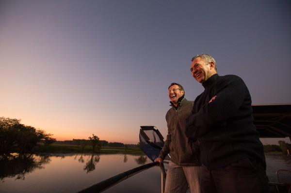 Territory Mates Mark Skaife and Mark Beretta embark on a dawn patrol for Barra on the iconic Yellow Waters Billabong in Kakadu National Park. (2)