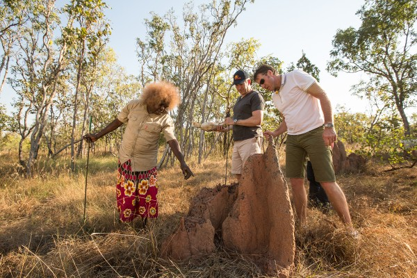 Territory Mates Mark Skaife and Mark Beretta with bush Tucker Guide Patsy (Raichwanga) Raglar building the earth oven on a boys own adventure from Darwin to Kakadu National Park