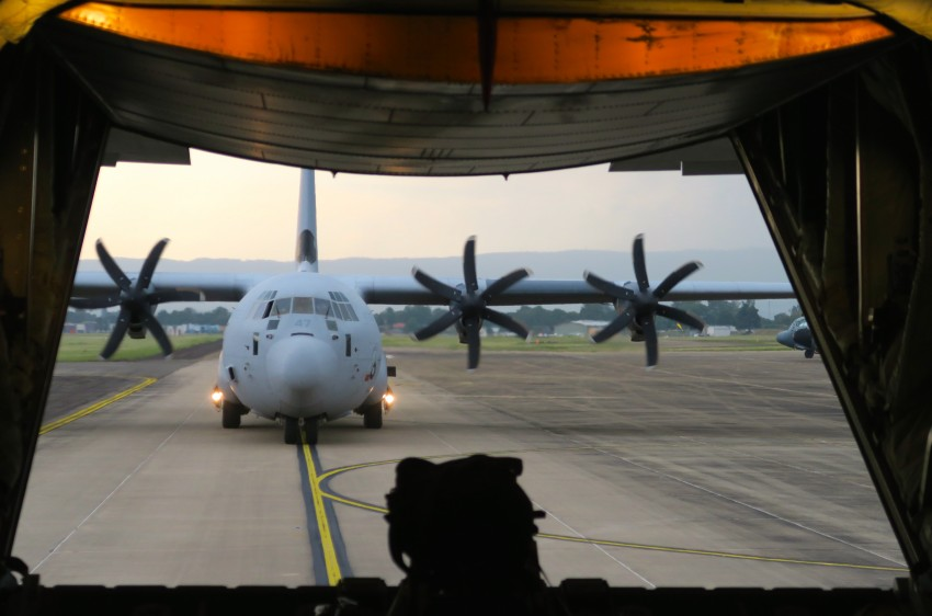 Looking out of one C130J towards another