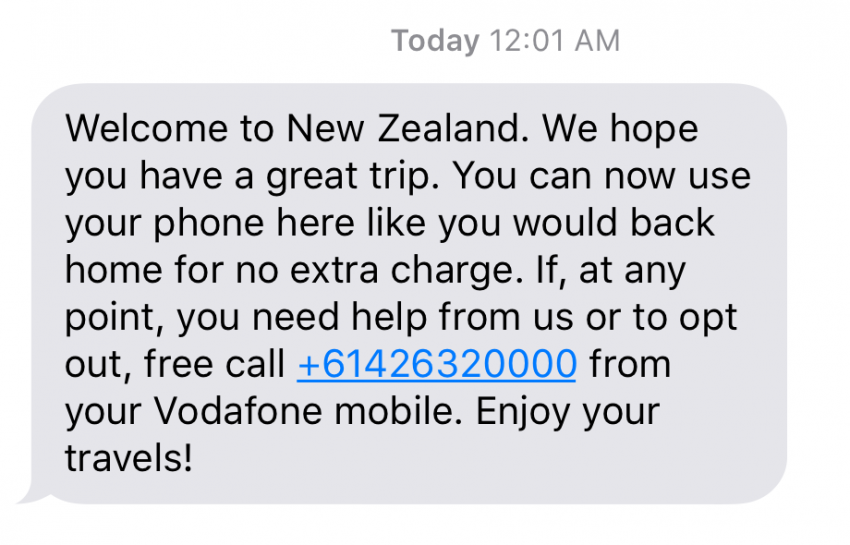 The text message you'll receive when you turn on your phone in New Zealand