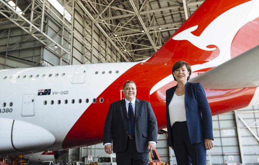 Vodafone Sales Director Ben McIntosh & Qantas Loyalty CEO Lesley Grant in Front of A380