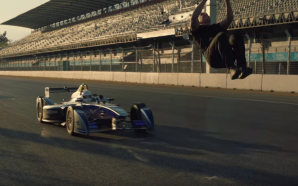 Stuntman backflips over a Formula E Race car! Amazing Video