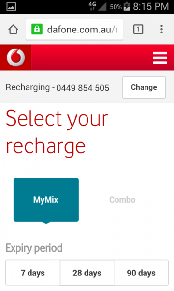 The MyMix Option Screen