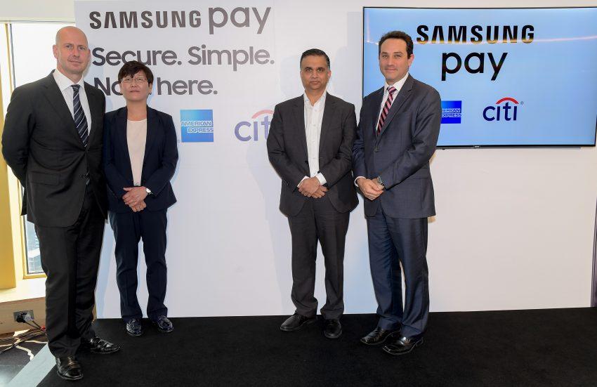 20160615 - Samsung Pay launch Australia- LtoR- Nick Alexander (American Express), Elle Kim (Samsung), Prasad Gokhale (Samsung), Alan Machet (Citi Global Consumer Bank)(0006)