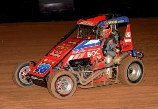 Rusty pushes it round in a Speedcar @ Sydney Speedway: Photo: Gary Reid