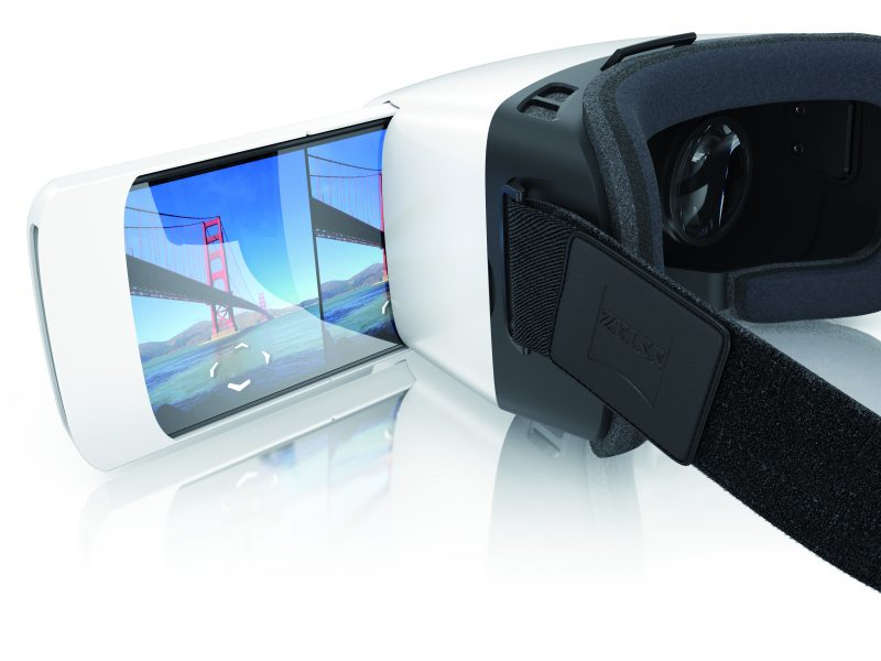 The ZEISS VR ONE Plus  is a virtual reality headset with with outstanding optical performance. The semi transparent front shield allows Augmented Reality solutions. It supports all smartphone with display sizes between 4.7 and 5.5-inch.