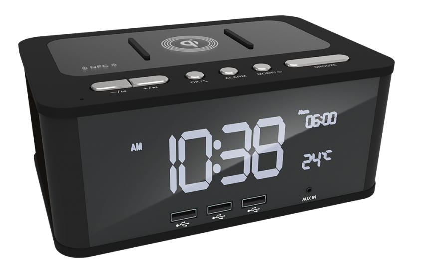 Clock Radio With Wireless Charging For Your Smartphone